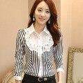 Elegant Lace Chiffon Blouse With Long Sleeves Women 2016 Autumn New Fashion Striped Women Office Shirts Korean Style Women Tops