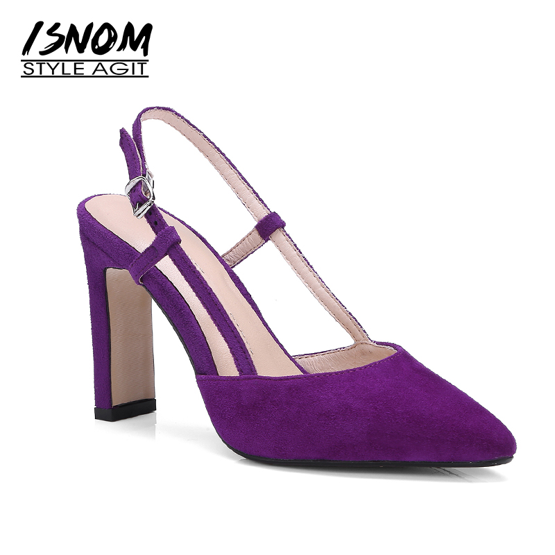 ISNOM 2018 New Summer High Heels Sandals Women Pointed Toe Kid Suede Back Strap Footwear Fashion Party Female Shoes Big Size 42 new 2017 spring summer women shoes pointed toe high quality brand fashion womens flats ladies plus size 41 sweet flock t179