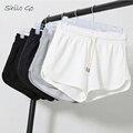 Envío libre 2016 del párrafo del verano de alta calidad de algodón mujeres casual en el hogar tres cortos XXL blanco y negro y azul y gary