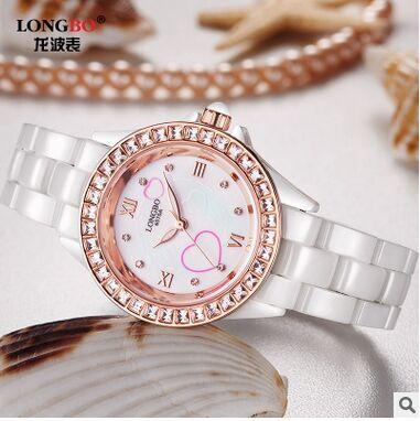 Lonbo Brand Female Korean Fashion watch waterproof quartz Ladies Watch Pearl Diamond Ladies Watch Rose Gold