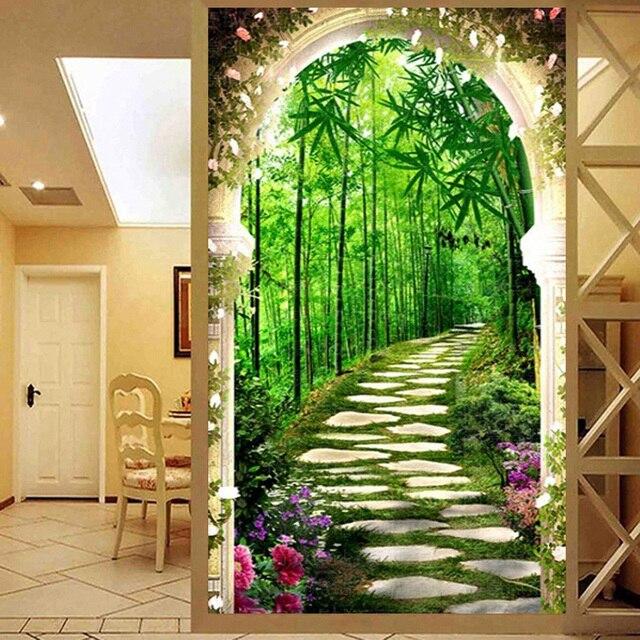 QIANZEHUI, bordado de diamantes, Diamante redondo profundo en el bosque de bambú completa Diamante de imitación 5D pintura de diamante punto de cruz, costura
