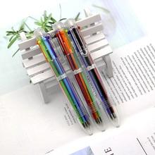 цена New listing 1 novelty colorful multicolor ballpoint pen multi-function 6 in 1 color writing cute stationery creative school supp онлайн в 2017 году