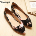 Fashion printing Canvas flat shoes woman pointed toe women flats slip on ladies shoes