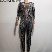Сексуальный сценический стрейчевый комбинезон со стразами женский сценический ночной клуб день рождения костюм танцевальная одежда комби