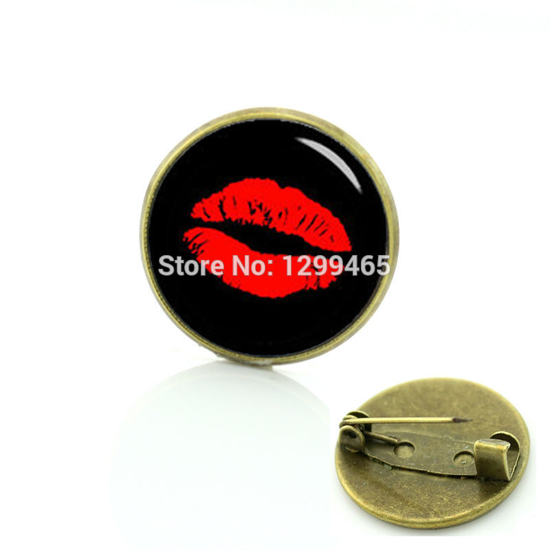 Elegant and charming red lip prints brooches Vintage flaming sex pin Simple design red kiss on seal badge C 1230 ...
