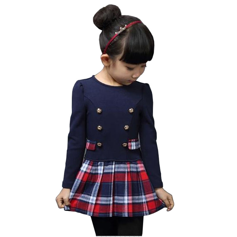 Children clothing 2016 New Spring Winter Baby Girls Plaid Long-sleeve Princess Dress Child Girls Party tutu dresses,Kids clothes autumn girls children s kids baby long sleeve lace mesh tutu patchwork basic dresses princess wedding party dress vestidos s5691