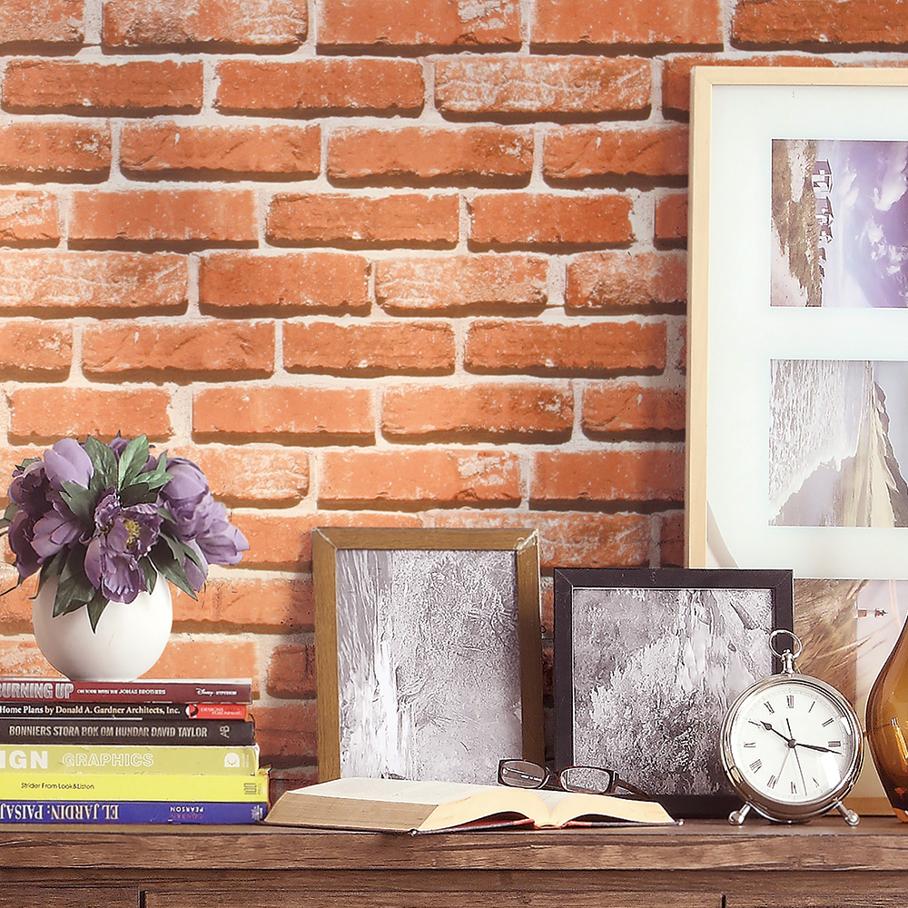 HaokHome 3d Modern Faux Brick Wallpaper Pumpkin/White Textured Realistic Stone Rolls Living room Bedroom Home Wall Decoration haokhome european floral damask 3d wallpaper rolls brown champagne black white textured living room bedroom home art decoration