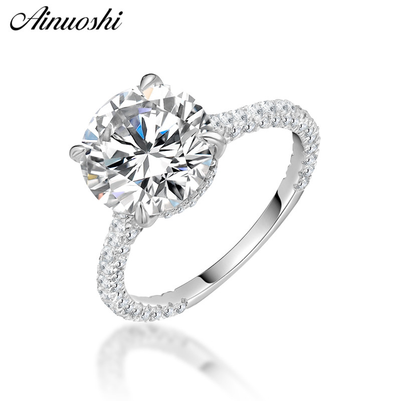 AINOUSHI Fashion 925 Sterling Silver Wedding Engagement 3 5ct Round Rings Girl Silver Anniversary Party Rings