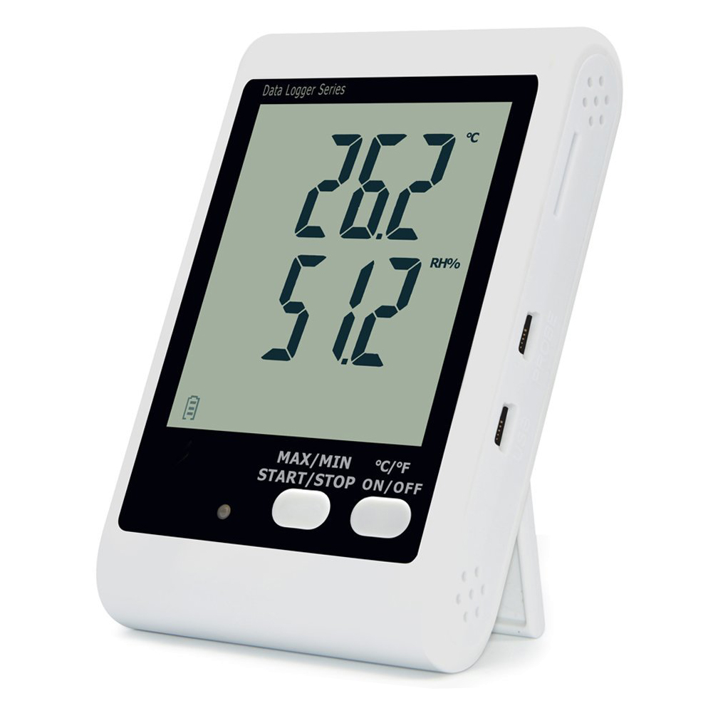 YOWEXA Temperature and Humidity Datalogger with Backlit LCD Display and Sound-light Alarm free shipping and low temperature alarm 634f 220v electron temperature alarm sound and light alarm thermostats