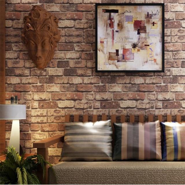 3D Ziegelstein Tapete PVC Vintage Shabby wohnzimmer, TV hintergrund ...