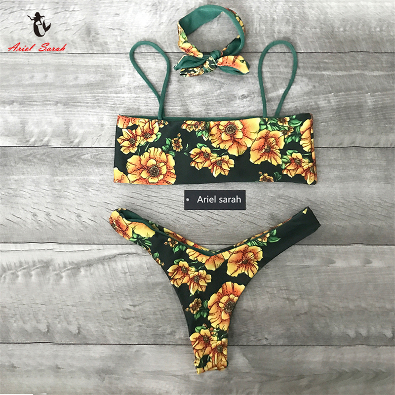 Ariel Sarah Floral Bikini Set 2018 Sexy Badeanzug Bademode Badeanzug Frauen Off Schulter Bikinis Frauen Strand Tragen Monokini