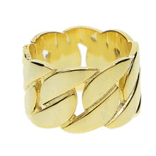 Gratis Gift Ring Gold Filled Kleur Geen Steen Klassieke Cubaanse Link Chain Inlay Overkoepelde Wedding Band Jongen Ringen(China)