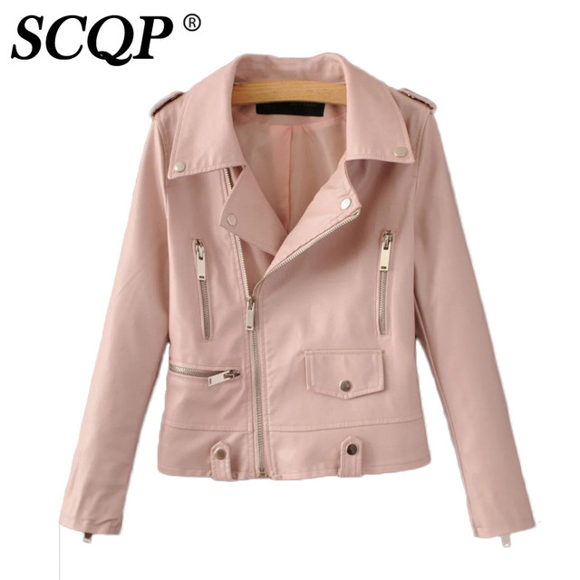 Fashion Short Pink Faux Leather Jacket Femme Zippers Black Woman ...