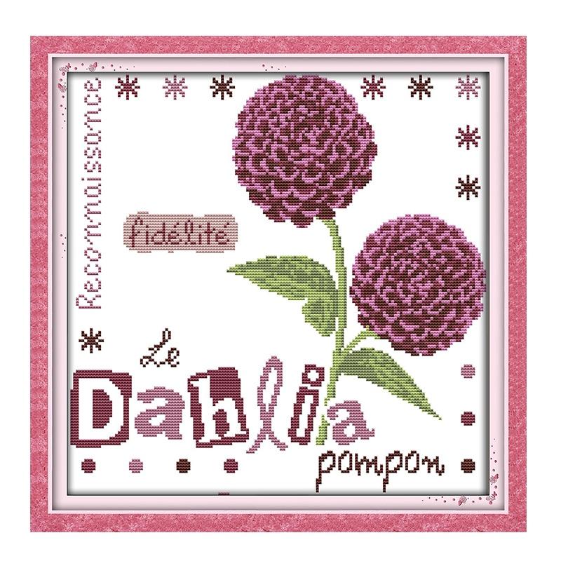 Joy Sunday crossstitch Purple Dahlia basket vase DMC14CT11CT cottonfabric readingroom tearoom deco painting factory wholesale