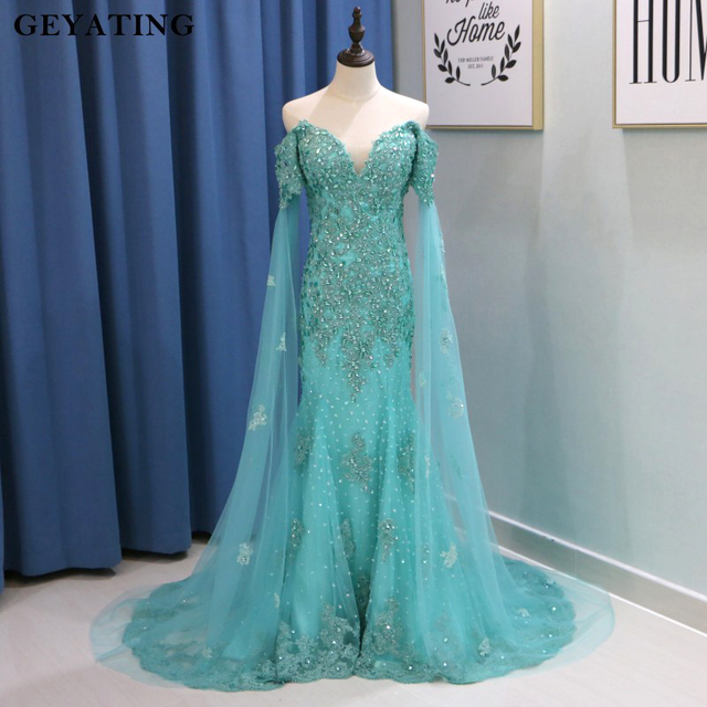 8f8948683fa2 Mint Green Mermaid Evening Dress with Cape Sleeves 2019 Long Off Shoulder  Lace Appliques Crystal Arabic