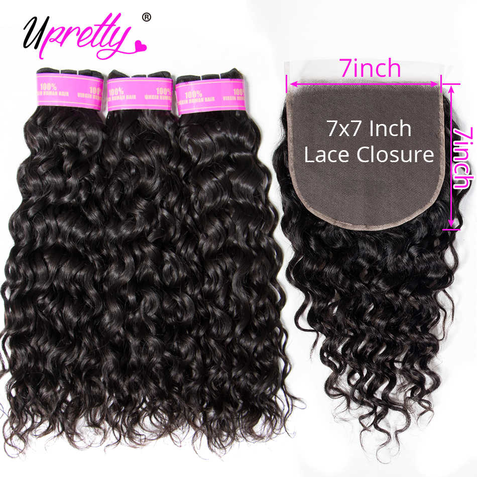 Upretty Hair Brazilian Water Wave Bundles With Closure 7x7 Lace Closure With Bundles Remy Hair Extensions 3 Bundles With Closure