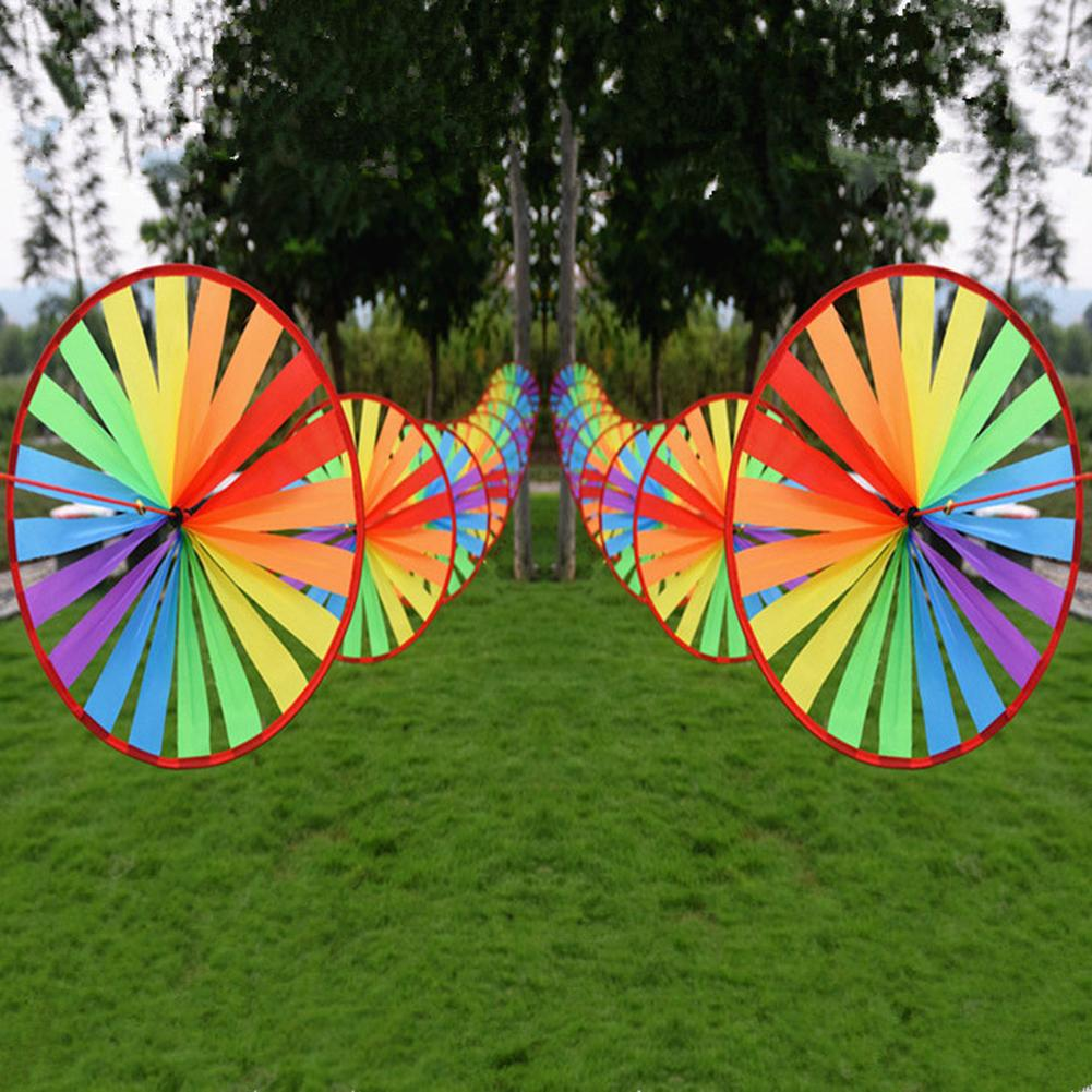 New Colorful Triple Wheel Rainbow Insect Wind Spinner