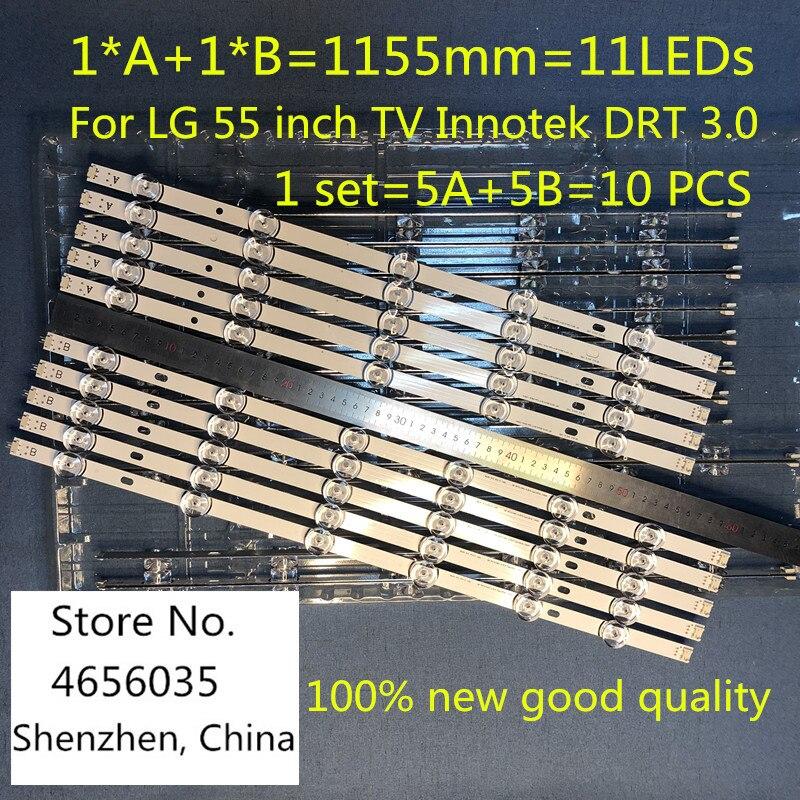 10PCS 1155mm LED Backlight Lamp Strip 11leds For LG 55 Inch TV Innotek DRT 3.0  55LB561V LG55LF5950 LC550DUE 6916L-1991A 1992A