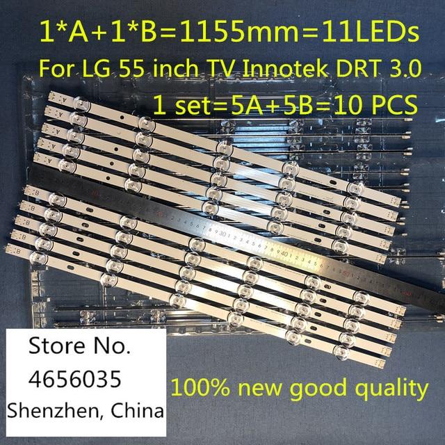 10PCS 1155mm LED Backlight strip 11leds สำหรับ LG 55 นิ้วทีวี Innotek DRT 3.0 55LB561V LG55LF5950 LC550DUE 6916L 1991A 1992A