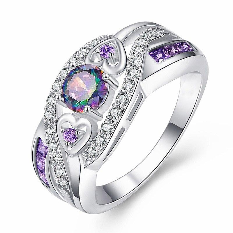 Opruiming, ovale ring met hartjes, verschillende kleuren en paars, wit, zilver, maat 6-10, modieuze damesjuwelen, cadeau