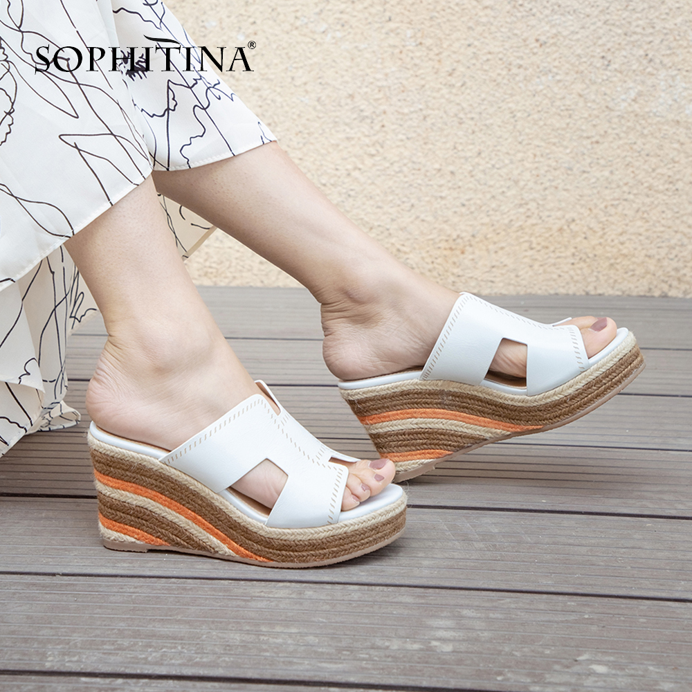 SOPHITINA New Fashion Rome Head Ladies Slippers Spring Autumn Rome High Heel Shoes Stylish Wedge Heel