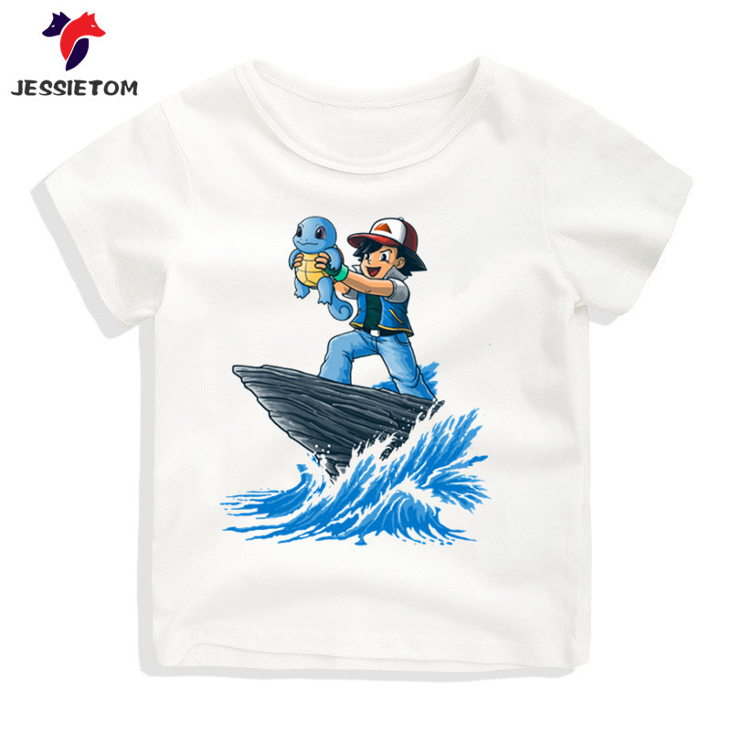 Boy and Girl The Spider King And Deadpool/Pikachu Printed Tshirt Kid Summer Short O Neck Kawaii Soft Tops Tees