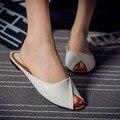 El envío libre 2017 nueva marca de verano Baotou ocio zapatillas femeninas sandalias de las mujeres de cuero de 5 colores 5 yardas