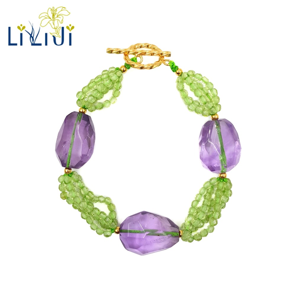 LiiJi Unique Natural Real Tiny Peridots Amethysts Beads 925 Sterling Silver Gold Color Shining Bracelet for Women Jewelry цена