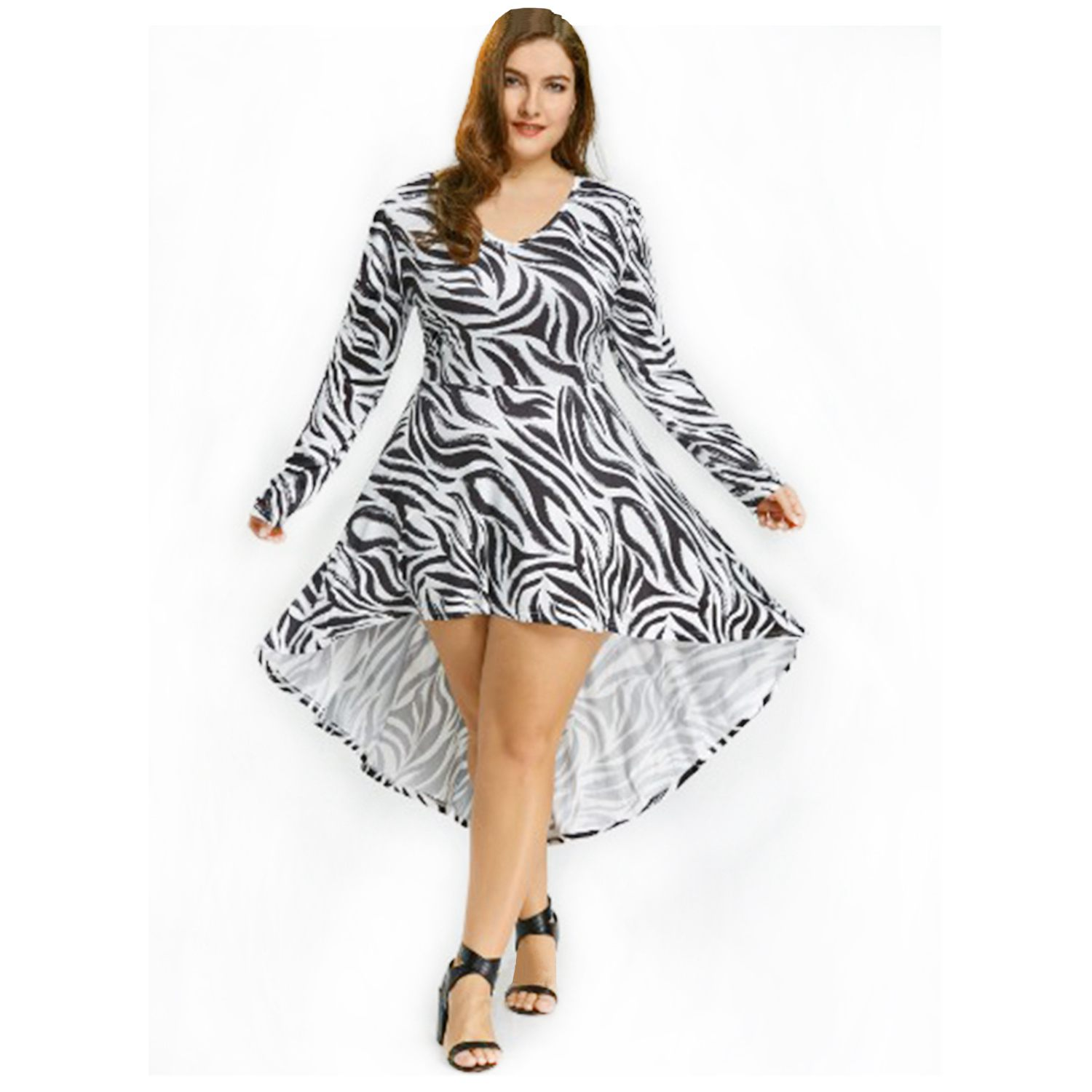 2018 hotsale spring autumn new fashion all-purpose elegant casual women lady dress long-sleeved zebra pattern ladies dress
