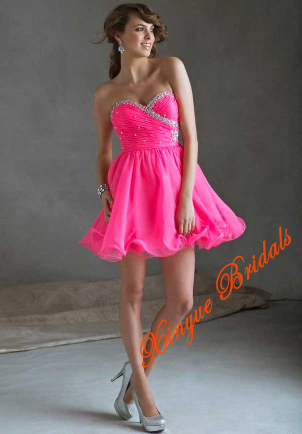 Sweetheart Neckline Scattered Beading Gathered Ruched Chiffon ...