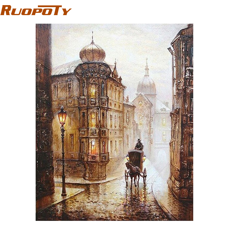 RUPSOTY Frame Painting By Numbers Abstract Vintage Wall Decor Diy Picture Oil Painting On Canvas For Home Decor Europe Street