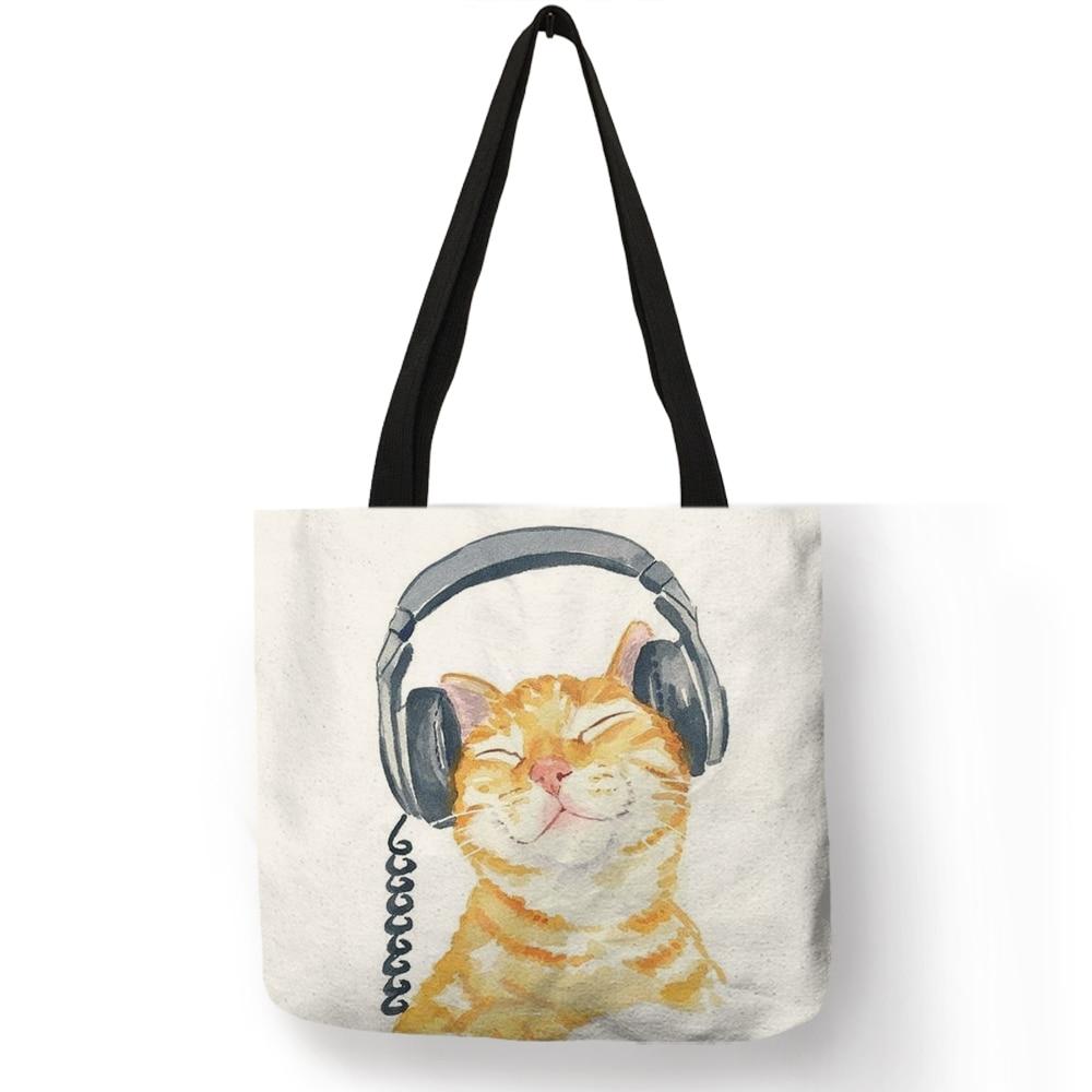 Cute Lovely Blow Balloons Cat Print Linen Tote Bag Women Casual Handbags Reusable Shopping  Bags Traveling Beach