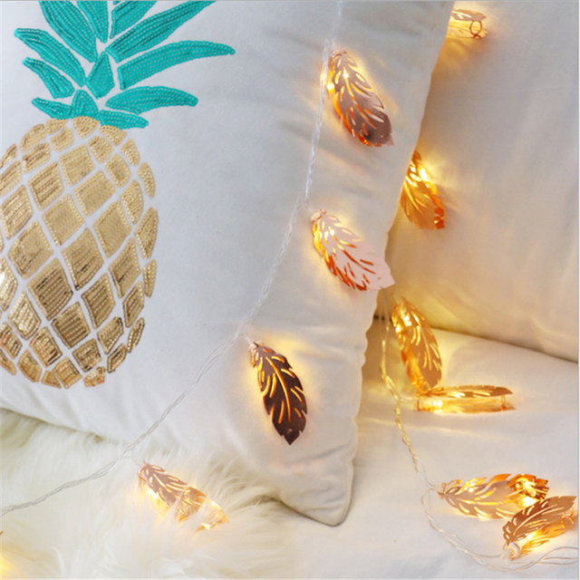 Rose Gold Feather Led Garland String Lights Kids Baby Room Decorative Fairy For Christmas Party