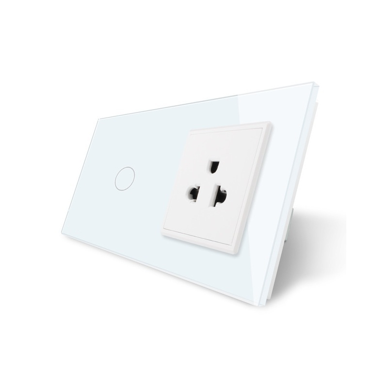 Livolo Touch Switch&US Socket, White Crystal Glass Panel, 110~250V 13A US Wall Socket with Light Switch, OS-01/01US-1 2017 smart home crystal glass panel wall switch wireless remote light switch us 1 gang wall light touch switch with controller