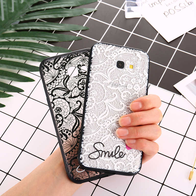 Lace Flower Hard PC+TPU Cases for Samsung Galaxy A3 A5 A7 2017 J2 J3 J5 J7 Prime 2016 Note 8 9 S8 S9 Plus A6 A8 2018 S7 S6 Edge