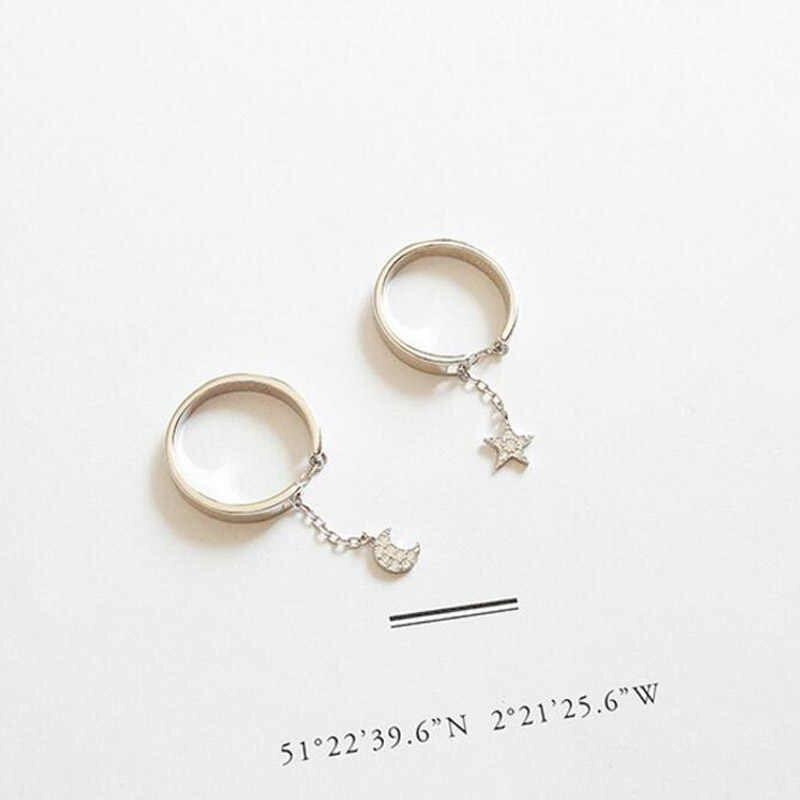 SMJEL милые лунные кольца для женщин подарок крошечное кольцо со звездами 925 Серебряные украшения со стразами Свадебная вечеринка женские кольца на палец Bijoux