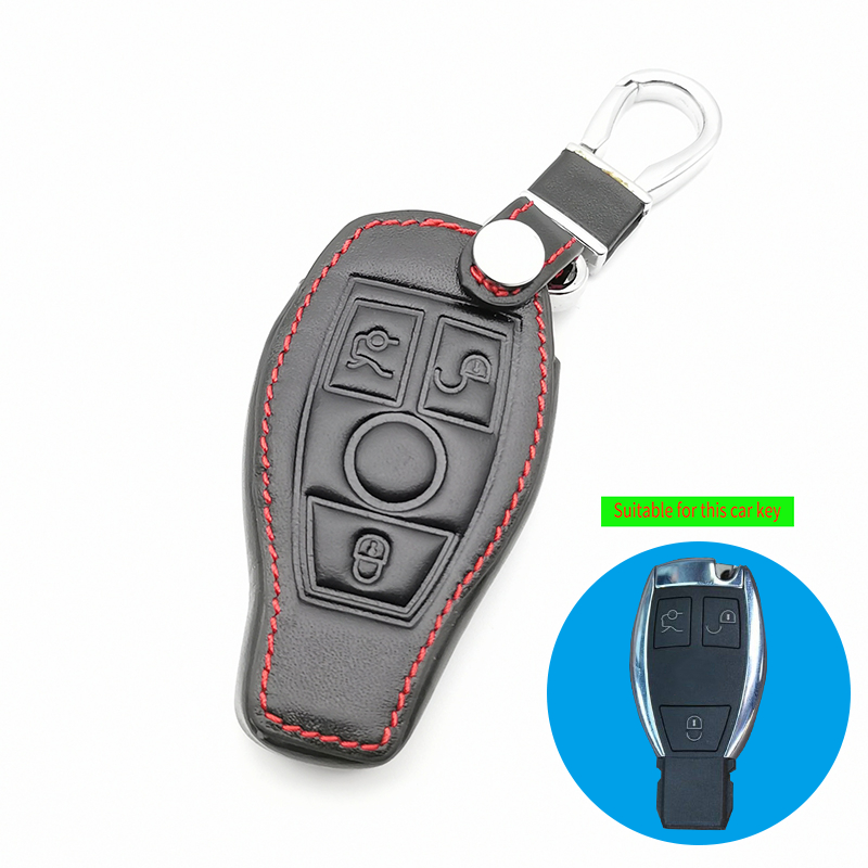 For Mercedes Benz W203 W210 W211 W124 W202 W204 W212 W176 AMG 3 Buttons Leather Car Key Case Cover Key Chain Car Accessories image