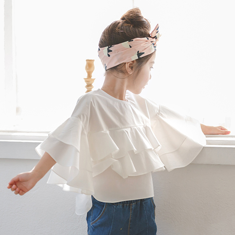 dd5d467e0ee462 Toddler Girl Ruffle Top 2018 Spring New Kids Girls Blouses and Shirts  Teenage Girls Blouses Designs Children White Cotton Shirts-in Tees from  Mother & Kids ...