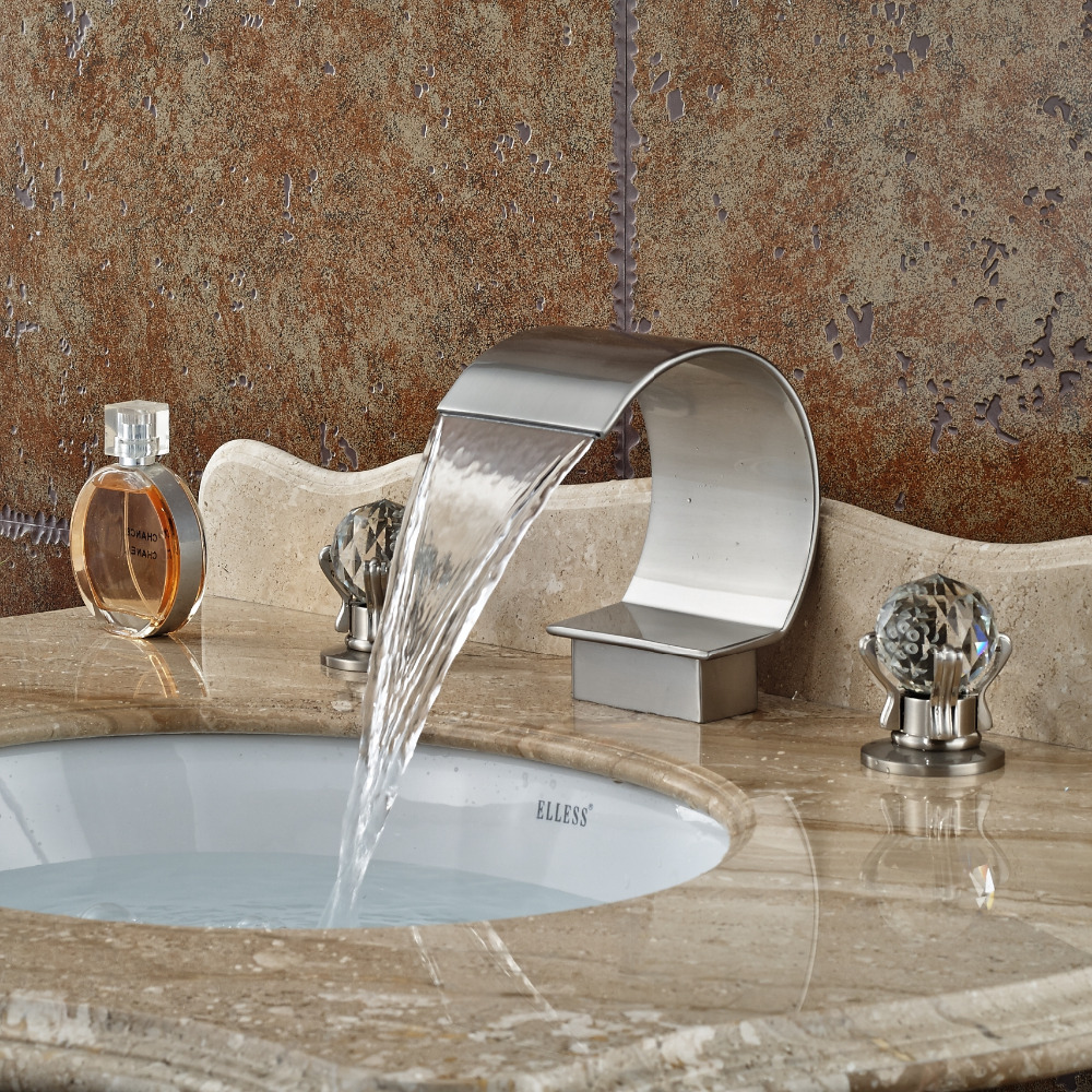 Wholesale And Retail Luxury Brushed Nickel Bathroom Basin Faucet Dual Crystal Handles Vanity