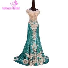 2017 რეალური სურათები მაღალი ხარისხის მწვანე სკალიპული ყელსაბამი Mermaid Prom Gowns Beading Appliques Sequined Vestidos საღამოს კაბები