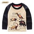 Dinossauro Impresso Meninos Pullover T-Shirt Da Marca de Moda Primavera Meninos Roupas de Manga Longa T-shirt Casual Roupa Das Crianças Tops Tees