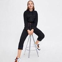 Pocket Trim Black Jumpsuit 2018 Autumn Winter Women Long Sleeve Lapel Formal Romper Ladies Casual Black Long Paysuit Overalls