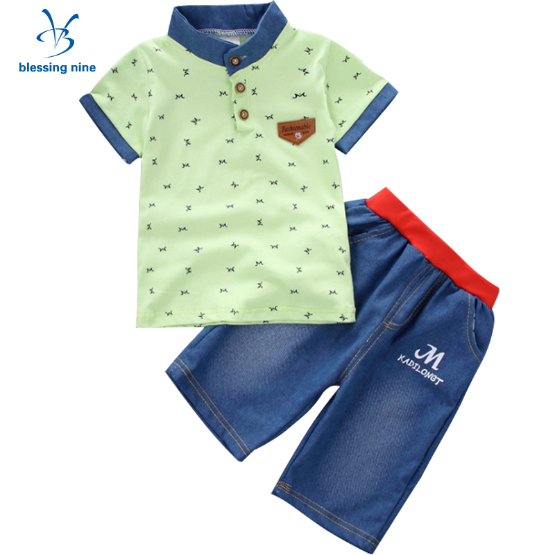 2Pcs Summer Children Clothing Set Baby Boys Clothes Cotton Short-sleeved Tracksuit Kids Sport Suits Toddler T-shirt+Denim Shorts