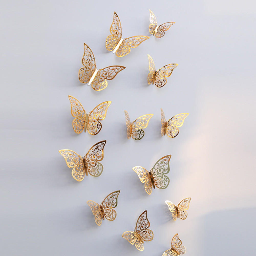 Openwork butterfly Wall Sticker 3D Hollow Wall Stickers Butterfly Fridge for Home Decoration Stickers
