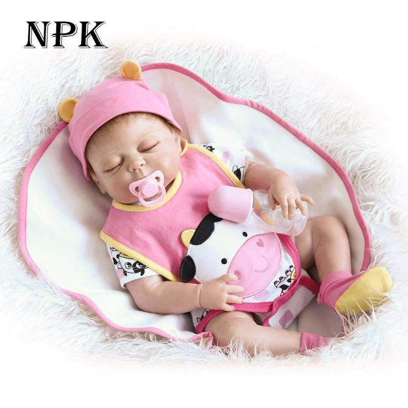 NPK 55cm Soft Silicone Reborn Baby Dolls Gift Adorable Lifelike Babies Dolls for Girls Kids Children Playmate Bonecas Gifts npkdoll 22 inch 55cm silicone reborn baby dolls with implanted mohair good price playmate christmas gift for children