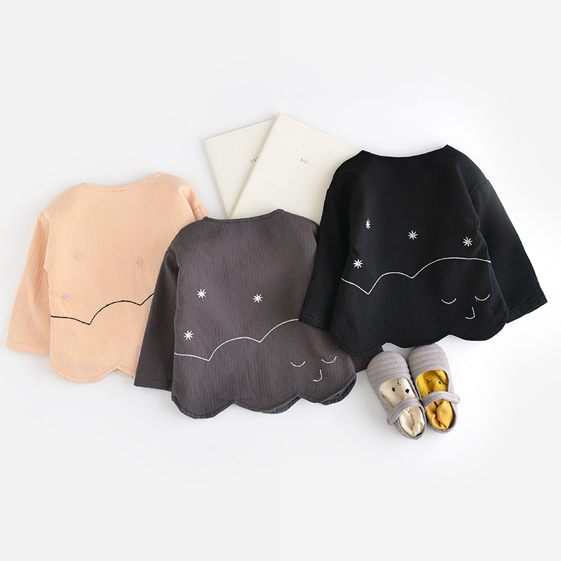 ФОТО Spring Newborn Jacket Baby girls Clothes Cotton Boys Outerwear Infant Cartoon Smile Star Coat wave printed  of girls lace coat