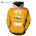 ACTIONCLUB 2017 Spring New Fashion Mens Hoodies And Sweatshirts 3D Print Yellow Beer Simple Valentine's Coats Casual Sportswear