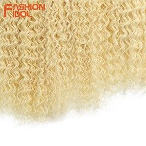Image 5 - Aplique de cabelo sintético, moda idol afro, cabelo encaracolado, feixes 613, cor loira, cabelo sintético, natureza, 6 pc 20 22 cabelo de 24 polegadas