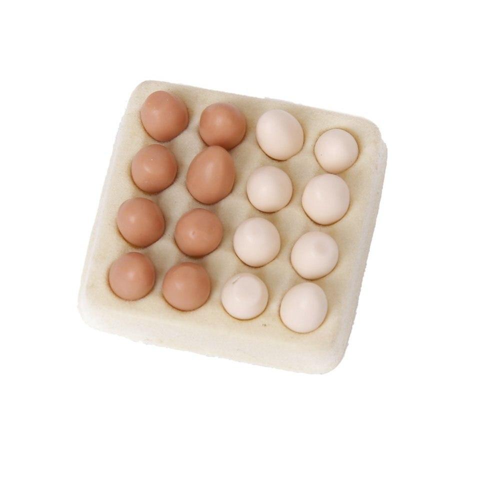 1:12 Dollhouse Miniature Egg Carton With 16 Pcs Eggs Dollhouses FE