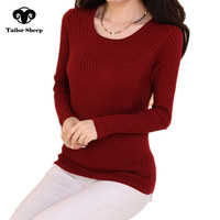 2017 winter wool sweater women o neck short design sweater slim long sleeve pullover female solid color shirt